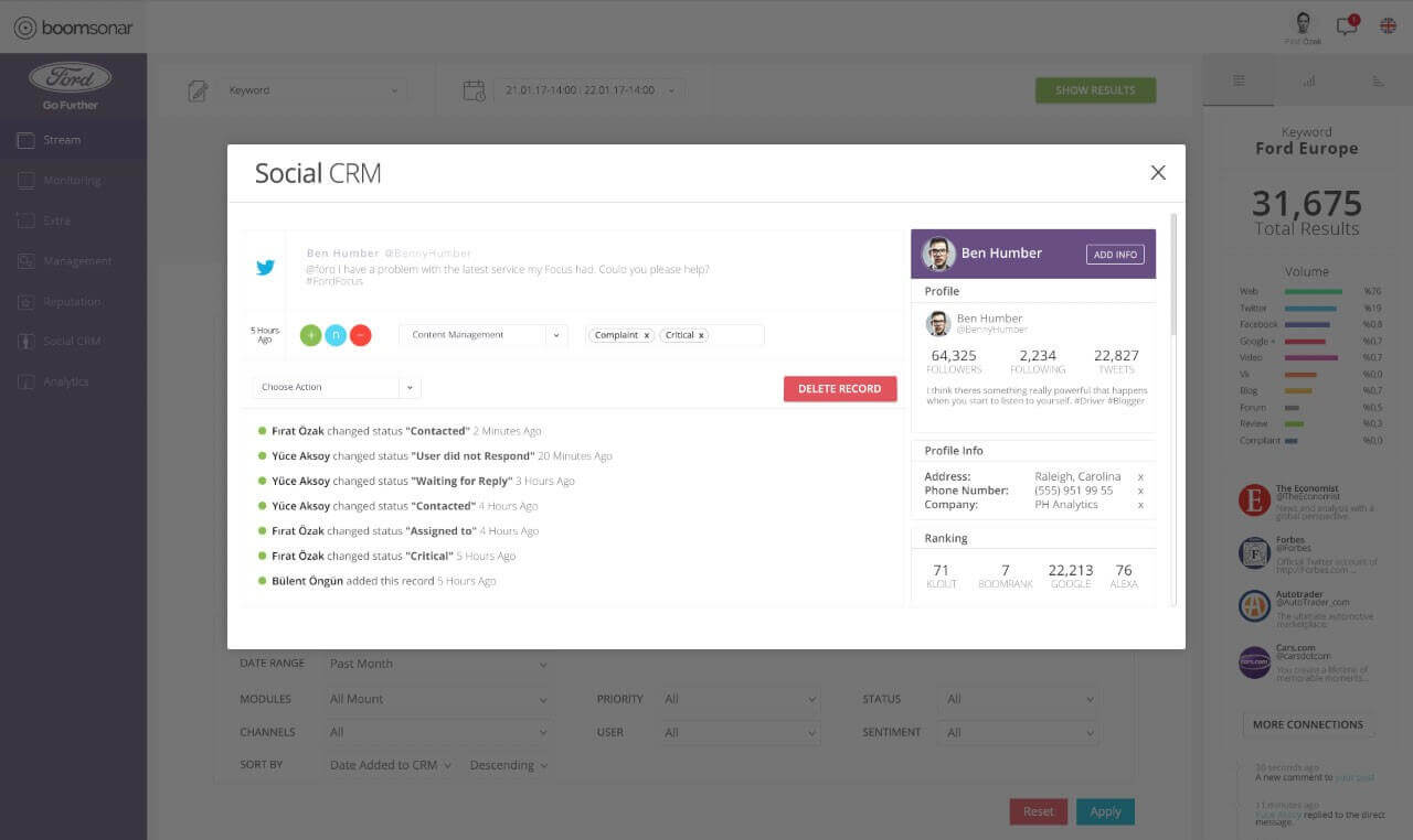 Social Media Management CRM